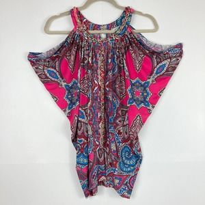 Cache Paisley Gold Chain Halter Top Summer Blouse